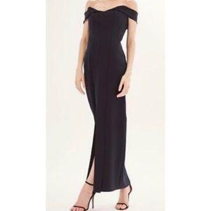 NWT TOPSHOP Navy Front Split Evening Dress Size 8